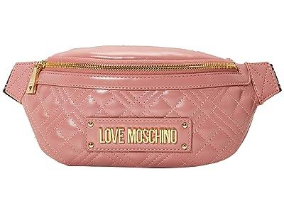 LOVE Moschino Quilted Belt Bag (Dark Pink) Handbags