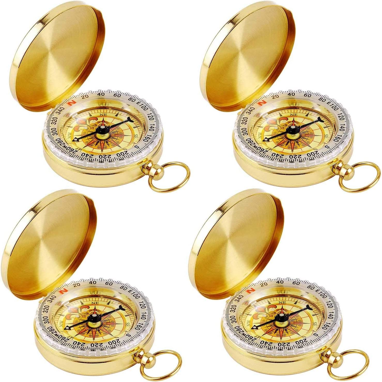 Aubric Classic Antique Golden Compass Spring new work one after another Pocket for C Max 51% OFF Survival Kids