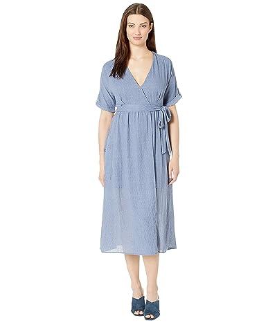 American Rose Luna Short Sleeve Wrap Dress (Dusty Blue) Women