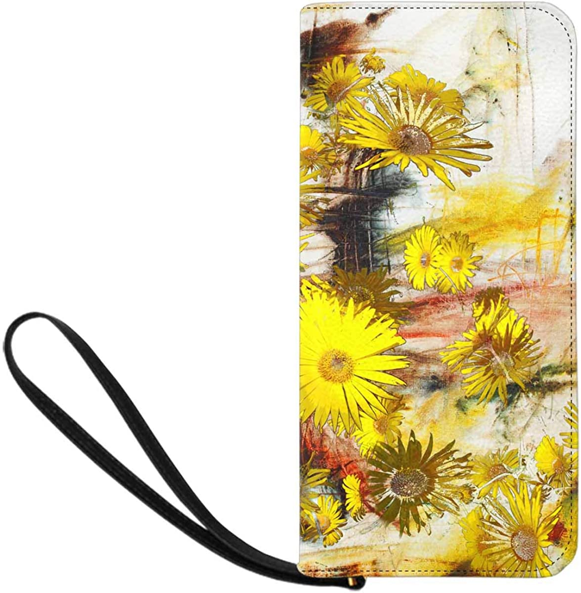 INTERESTPRINT Abstract Daisy Floral Clutch Purse for Women Evening Party