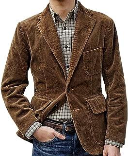 Sunward Coat for Men,Men's Solid Color Casual Corduroy Single Breasted Suit