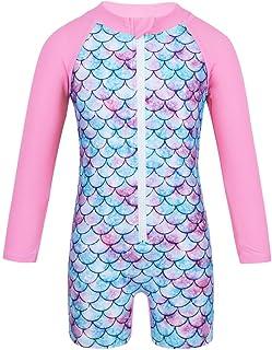 iiniim Toddler Baby Girls One Peices Long Sleeve Mermaid Rash Guard Swimwear Sun Protection Swimsuit Wetsuit UPF 50+
