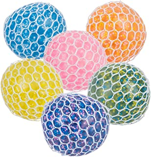 Mozlly Multi-Coloured Mesh Balls Squeezy Bead Soft & Gooey Stress, Anxiety, Tension Reliever Hand Muscle Therapy Bouncy Sq...