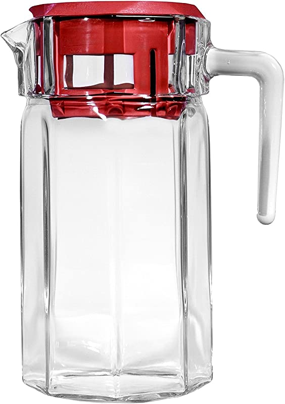 Circleware 66750 Glass Beverage Drink Pitcher Dispenser 50 Oz Red Lodge