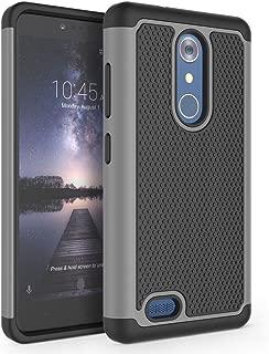 ZTE Zmax Pro Case, ZTE Carry Case, ZTE Blade X Max Case, SYONER [Shockproof] Hybrid Rubber Dual Layer Defender Protective Phone Case Cover for ZTE Z981 / Z983 [Gray/Black]