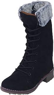 CatBird Women's & Girl's Zipper and Lace-up Calf High Winter Boots | Fashion Casual Booties | Anti-Slip Long Boots Winter ...