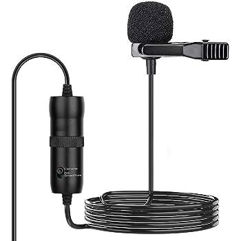 Micrófono Lavalier Profesional, Uplayteck Micrófono de Solapa con 20ft Cable, Omnidireccional Micrófono de Condensador para Móvil, PC, Cámara, Grabadora