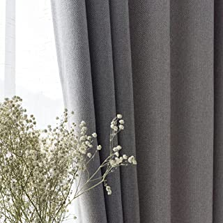 Simplicity Gray Blackout Curtain Cotton Linen Eyelets Curtains for Livingroom Bedroom Kids Room Kitchen 2 Panels,Gray,W120...