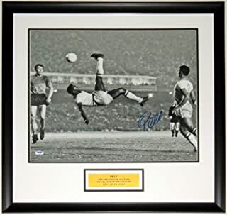 Pele Signed World Cup Bicycle Kick 16x20 Photo - PSA DNA COA Authenticated - Professionally Framed & Greatest Plate
