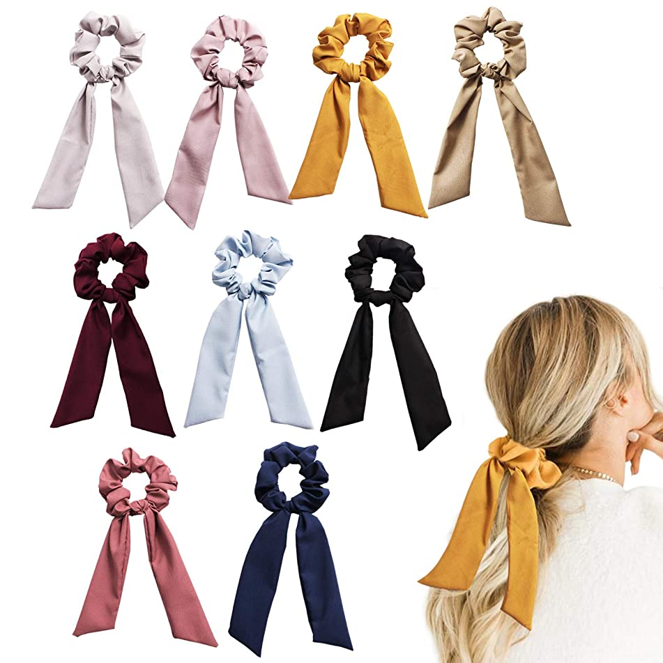 CODOHI 9 Packs Solid Hair Scrunchies Bowknot Ties Ponytail Bow Accessories Assorted Colors Ponytail Holder for Women Girls