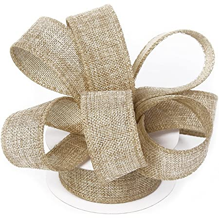 ideal for barn wedding decorations DIY projects. gift packaging wired edge brown ribbon with a natural look Ribbon floral arrangements