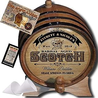 Personalized American Oak Scotch Aging Barrel (101) - Custom Engraved Barrel From Skeeter's Reserve Outlaw Gear - MADE BY American Oak Barrel - (Natural Oak, Black Hoops, 2 Liter)