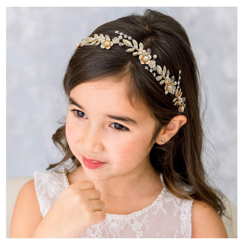 SWEETV Flower Girl Hair Accessories for Wedding Headpieces Flowe