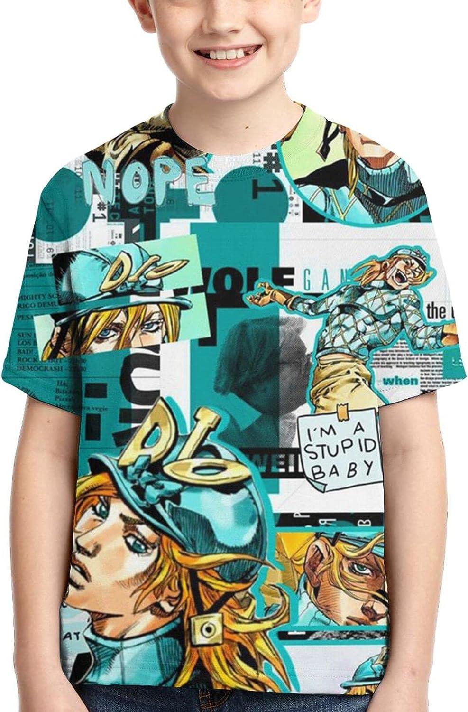 JoJo's Bizarre Adventure Dio Brando Shirts Crew Neck Boy's Anime T-Shirt Graphic T Shirt Tops