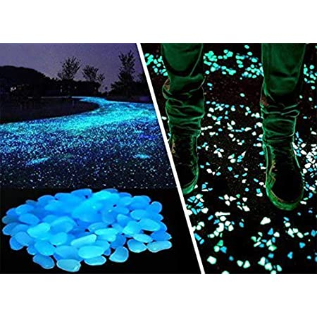 nobrand Sdirniy 100pcs Glowing Pebbles Glow in the Dark Stones Rocks Blue Luminous Cobblestones Decorative Resin Gravel for Garden Pathway Yard Aquarium Fish Tank