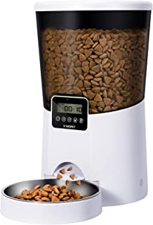 WOPET Automatic Cat Feeder, Dog Auto Food Dispenser with Stainless Steel Food Bowl,1-4 Meals per Day Voice Recorder and Po...
