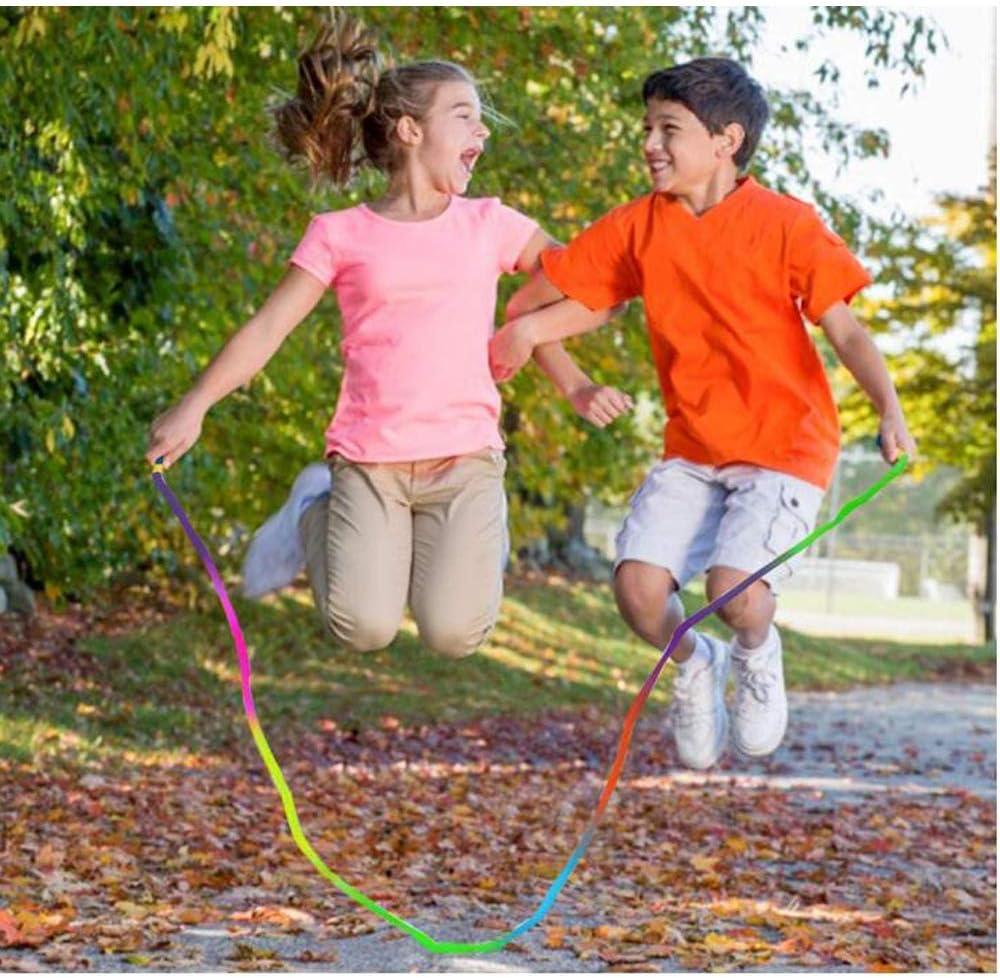 Lazzon Cuerda de Saltar para Ni/ños Ni/ñas Cuerda para Saltar Ajustable con Mango de Madera y Cuerda de Algod/ón para Fitness Entrenamiento Juego Grasas Ejercicio