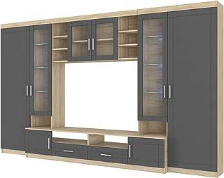 Küchen-Preisbombe Wohnwand Paris Anbauwand Wohnkombi Wohnzimmer MDF Grau+ Sonoma Eiche matt
