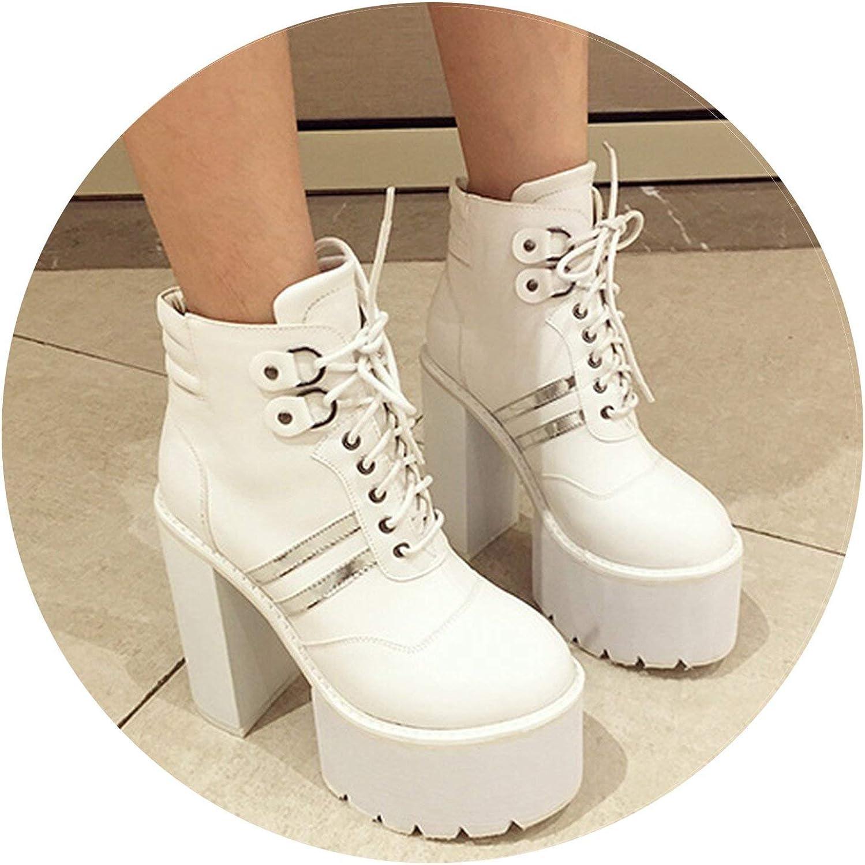 Summer-lavender Lacing PU Leather Ankle Boots shoes for Platform Heels Woman Short Boots Autumn Heel 15cm shoes