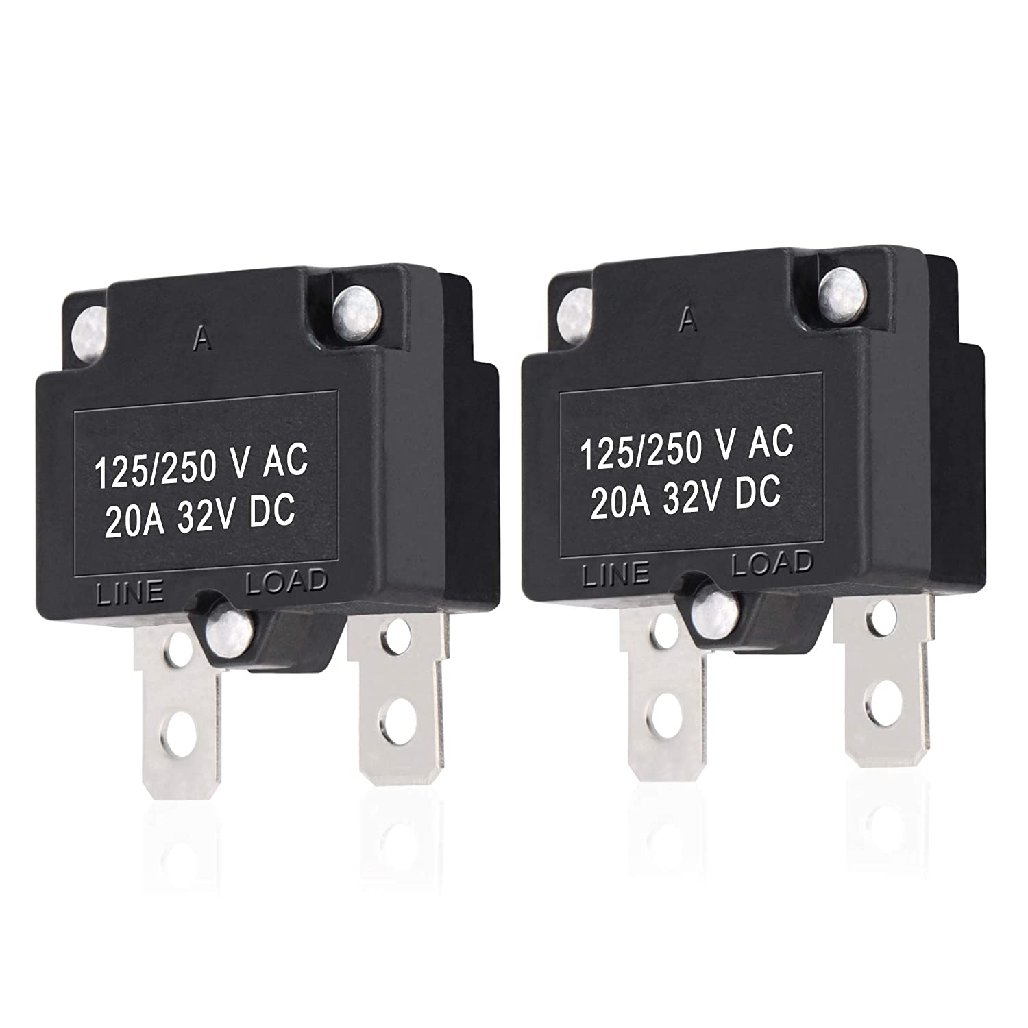 Details about  / 2 Pcs 21A 125//250V Push Button Reset Overload Protector Thermal Circuit Breaker