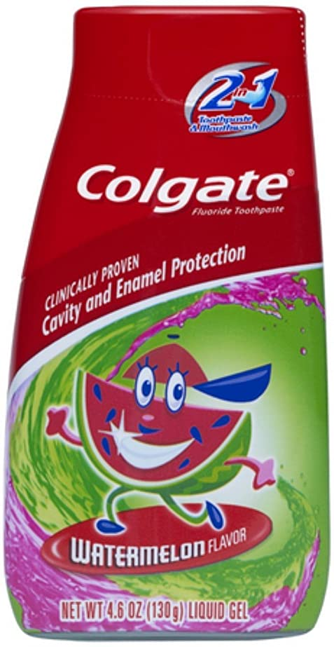 スツール移民お祝いColgate キッズ2-IN-1歯磨き粉マウスウォッシュスイカ4.60オズ(5パック) 5パック