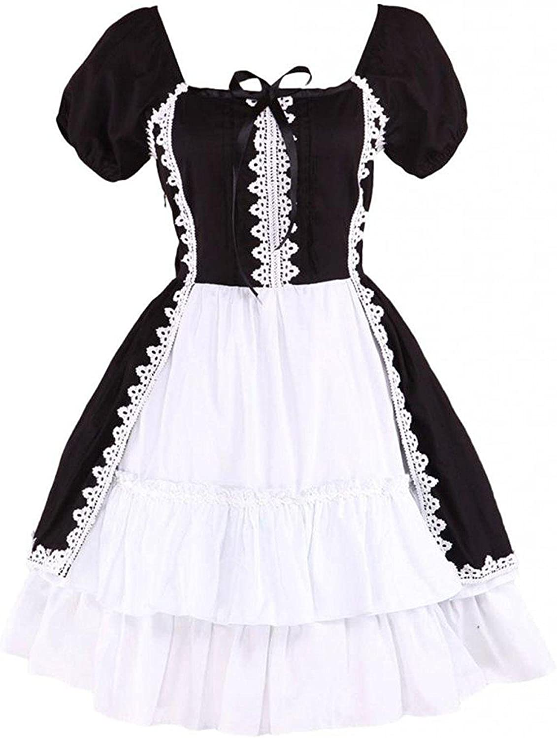 Ainclu Womens Classic Cotton Black and White Short Sleeves Gothic Lolita Dress