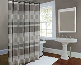 Metallic Stripe Woven Sheer Shower Curtain Horiz and Vert Stripe Bronze 72x72 Inch