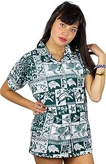 Funky Hawaiian Blouse, VHO-Puzzle, Green, 5XL