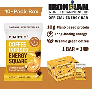 Quantum Energy Squares, Coffee Energy Bars with 10g of Vegan Protein, Low Carb Paleo Bars with Caffeine Chocolate and Good Fats from Nuts and Seeds, 10-Pack of Crunchy Peanut Butter