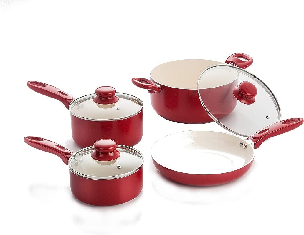 7 Piece Aluminum Cookware Set W Ceramic Nonstick Coating