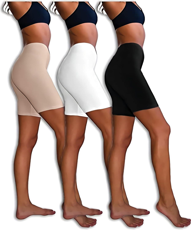 Olodo 3 Pack High Waist Slip Shorts Biker Shorts for Women Slim-fit and Anti-Glare Smooth Yoga Shorts(Black/White/Kahki)