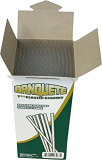 Unwrapped Clear Plastic 7 3/4 Drinking Straws 200 Count Banquete Brand