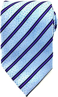 Men's Sky Blue Floral with Purple and Black Stripes 8.5 CM Necktie | Lined Ties for Men | Neck Tie for Him | Striped Tie