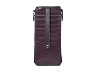 Lodis Accessories Audrey RFID Joan Double Zip Card Case (Deep Plum/Ivy) Wallet