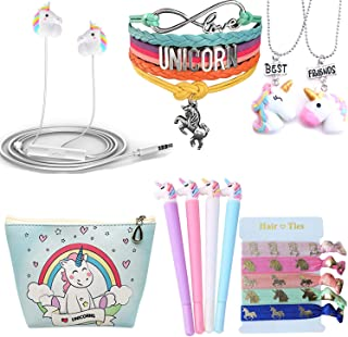 Ultimate Unicorn Gifts For Girls-Birthday Party Favors Gifts Unicorn 3D Earphone/Makeup Bag/Bracelet/Inspirational Necklace/Hair Ties/Pen-Kawaii Gift