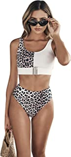 Women's Leopard Buckle Front Top with High Waist Bikini & Two Pieces Swim Cheeky Bathing Suit