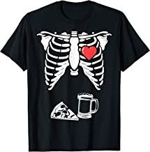 Skeleton Pregnancy Pizza Beer Xray Funny Halloween Soon Dad T-Shirt