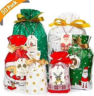 YiRAN Bolsas de regalo con cordón navideño 30 piezas Bolsas de regalo de Navidad surtidas Bolsas de regalos de Navidad mejoradas para fiesta de cumpleaños con etiquetas de regalo de Navidad