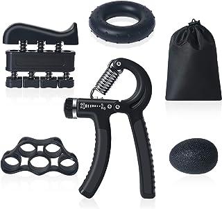 Anneau dexercice et Balle Anti-Stress Exerciseur de Doigts Chiclew Musculation Main Kit de 5 Pince Poign/ée 5-60 kg Ajustable Comptage /Étireur de Doigts Entra/înement de Musculation Avant Bras