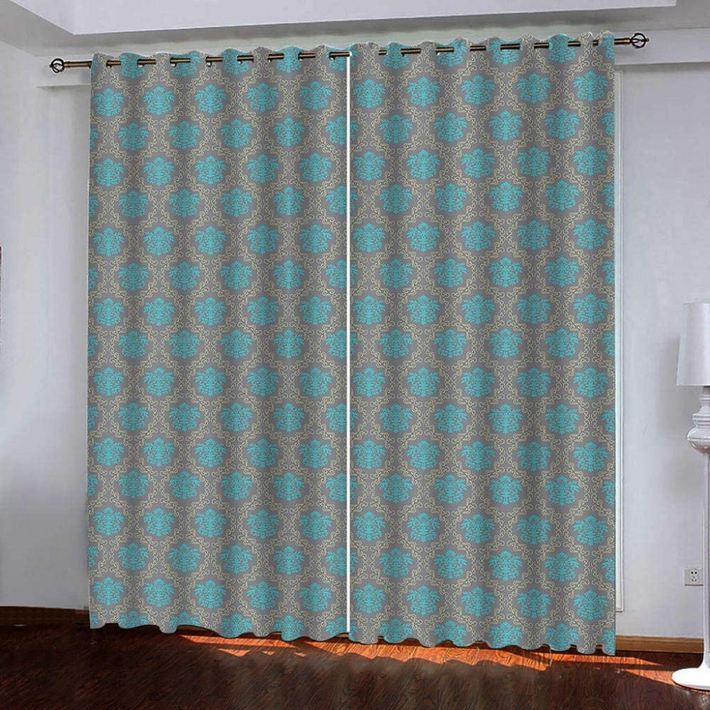Blackout Curtains,Blue Pattern Rare Shades Insulated Noi Thermal Philadelphia Mall