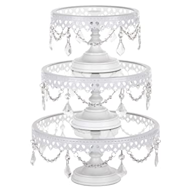 Amalfi Decor Cake Stand Set of 3 Pack with Glass Tops, Dessert Cupcake Pastry Candy Display Plate for Wedding Event Birthday Party, Round Metal Pedestal Holder with Crystals, White