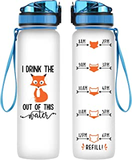 Coolife 32oz 1 Liter Motivational Tracking Water Bottle with Hourly Time Marker - I Drink The Fox Out of This Water - Drink More Water - Funny Birthday Gifts for Women, Mom, Best Friend, Coworkers