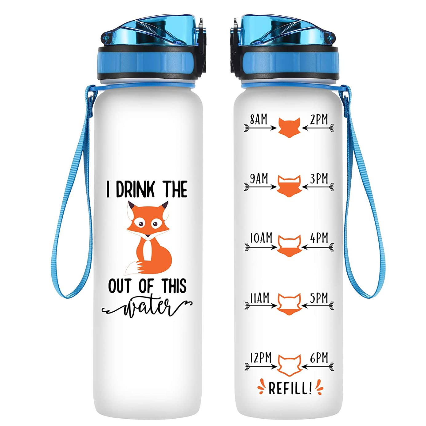 Coolife 32oz 1 Liter Motivational Tracking Water Bottle with Hourly Time Marker | I Drink The Fox Out of This Water | Drink More Water | Funny Birthday Gifts for Women, Mom, Best Friend, Coworkers