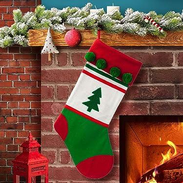 S-DEAL - Medias navideñas de lana de 19.9in con pompones para decoración de fiesta de Navidad
