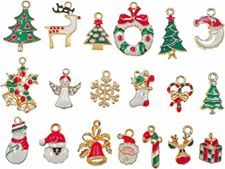 19pcs Mixed Christmas Charm Enamel Gold Toned Rhinestone Inlaying Pendant for DIY Jewelry Making Xmas Decorative Accessories by Alimitopia