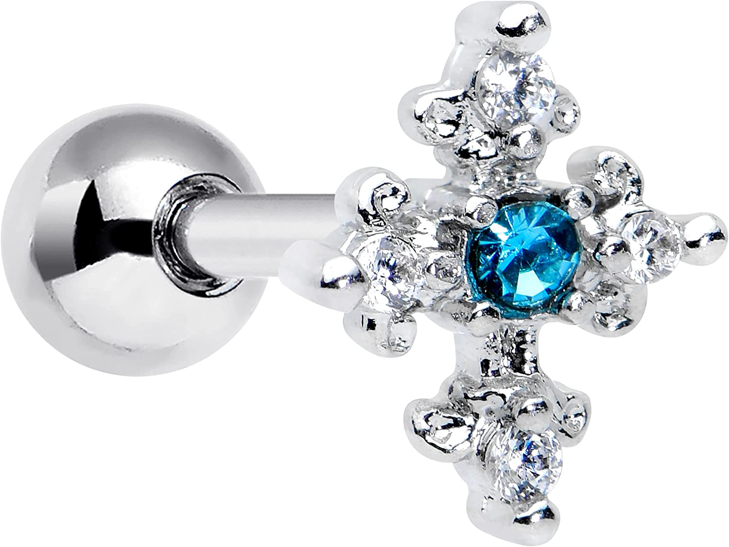 Body Candy 16G Womens Stainless Steel Clear Blue Accent Cross Cartilage Earring Helix Tragus Jewelry 1/4