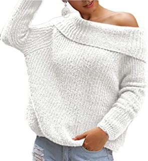 Women's Oversized Off Shoulder Long Sleeve Pullover Sweater Loose Knit Jumper