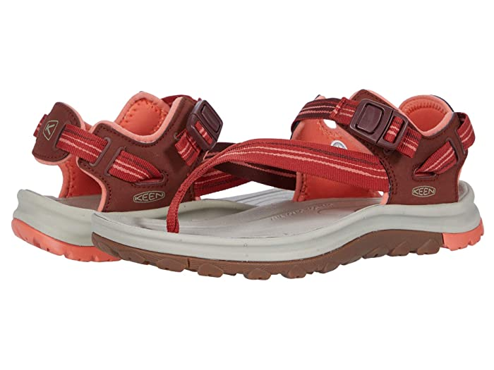 Keen  Terradora II Toe Post (Dark Red/Coral) Womens Shoes