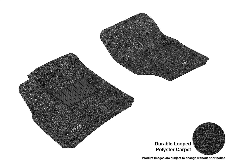 Black Classic Carpet L1PO00012209 3D MAXpider Front Row Custom Fit Floor Mat for Select Porsche Cayenne//Volkswagen Touareg Models