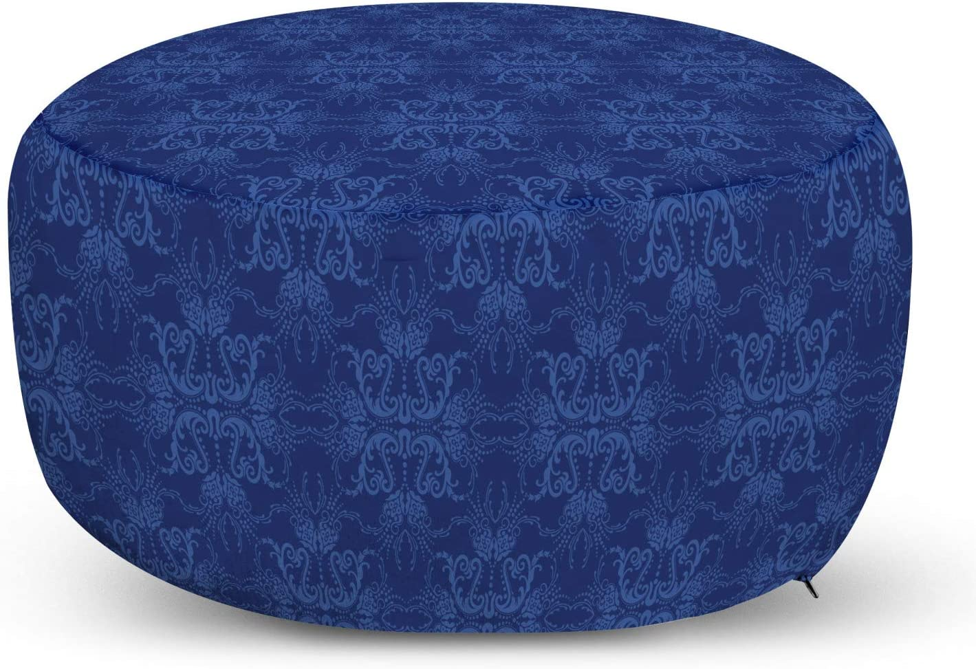 Ambesonne Navy Azure Blue Ottoman Pouf, Antique Baroque Damask Inspired Abstract Flowers Ornamental Victorian Garden, Decorative Soft Foot Rest with Removable Cover Living Room and Bedroom, Azure Blue